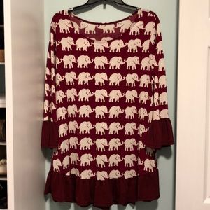 Tops - Crimson and white elephant tunic